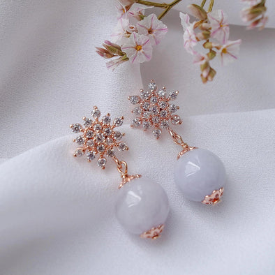 Snow Ear Studs with Lavender Jade