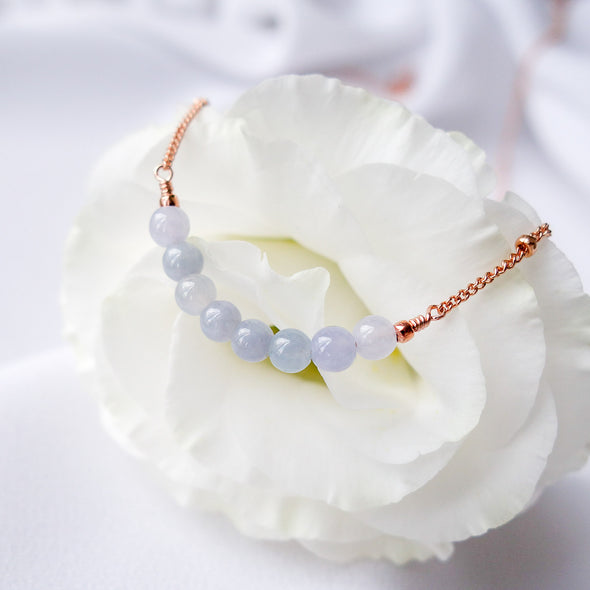 Lavender Jade Bar Necklace - Ball Chain