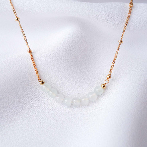 White Jade Bar Necklace - Ball Chain