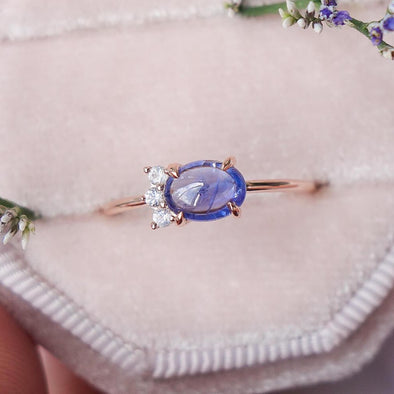 Sapphire Sideswept Cabochon Ring with White Sapphire