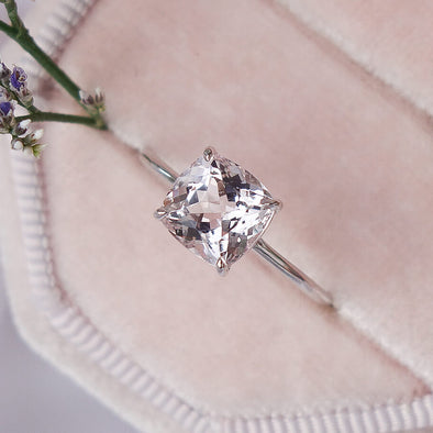 Square Morganite Solitaire Ring - 14K White Gold