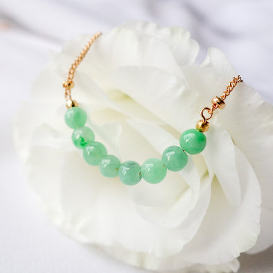 Green Jade Bar Necklace - Ball Chain