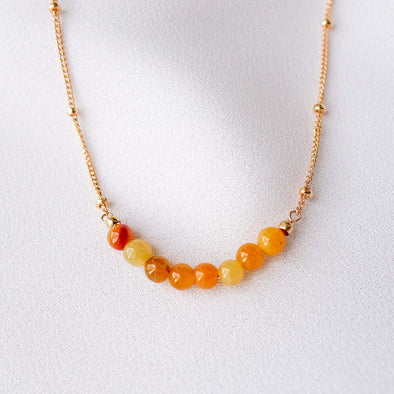 Golden Jade Bar Necklace - Ball Chain