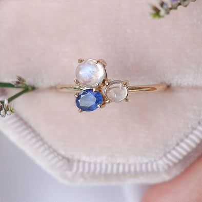 Blue Skies Moonstone Ring - 14K Yellow Gold