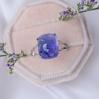 Rectangle Tanzanite Cabochon Ring in 14K White Gold