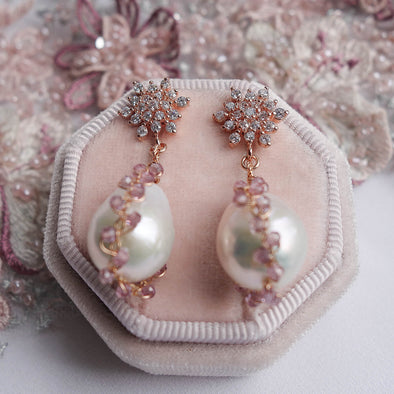 Snowflake Earrings with Baroque Pearls in Spinel Cocoon