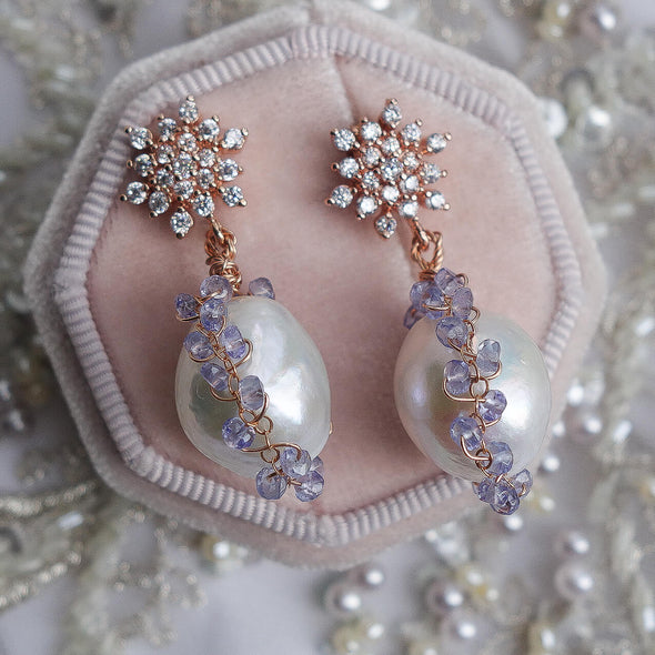 Snowflake Earrings with Baroque Pearls in Tanzanite Cocoon