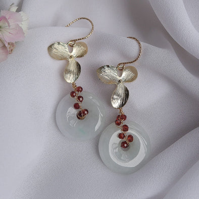 Jade with Garnet Vine and Hydrangea Earrings