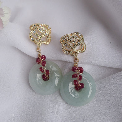 Rose Ear Studs and Jade with Ruby Vine