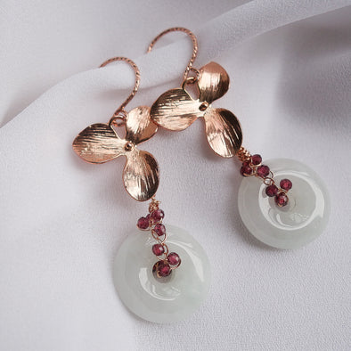 Jade with Garnet Vine and Hydrangea Earrings - Rose Gold