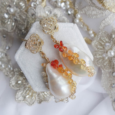 Rose Earrings with Baroque Pearls in Mexican Fire Opal Cocoon