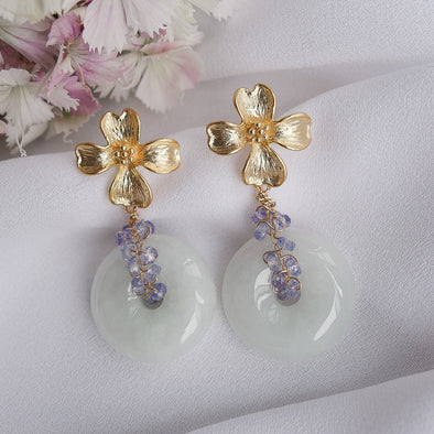 Floral Ear Studs and Jade with Tanzanite Vine