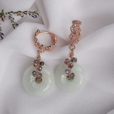 Intricate Ear Hoops and Jade with Tunduru Sapphire Vine