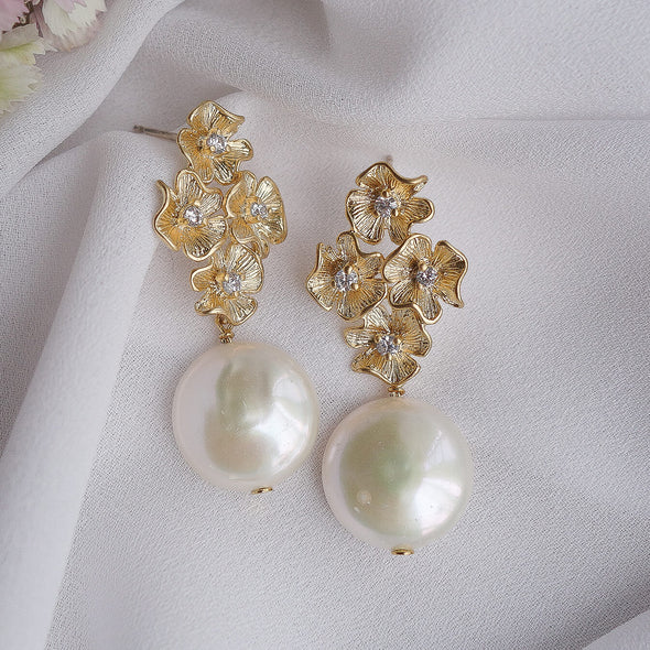 Floral Cluster Ear Studs with Coin Pearl
