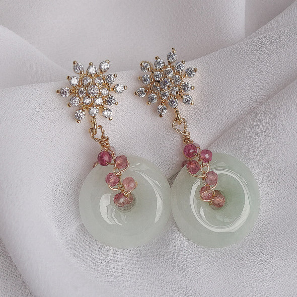 Snow Ear Studs and Jade with Tourmaline Vine