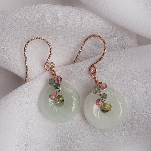 Jade with Multi-coloured Tourmaline Vine Hook Earrings