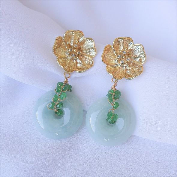 Grand Floral Ear Studs and Jade with Tsavorite Vine