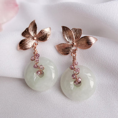 Four Petal Ear Studs and Jade with Spinel Vine