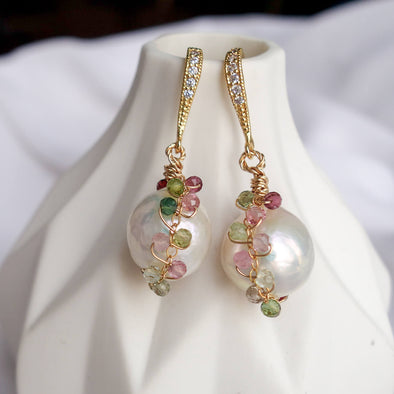 Pearl with Tourmaline Vine Cocoon Hook Earrings