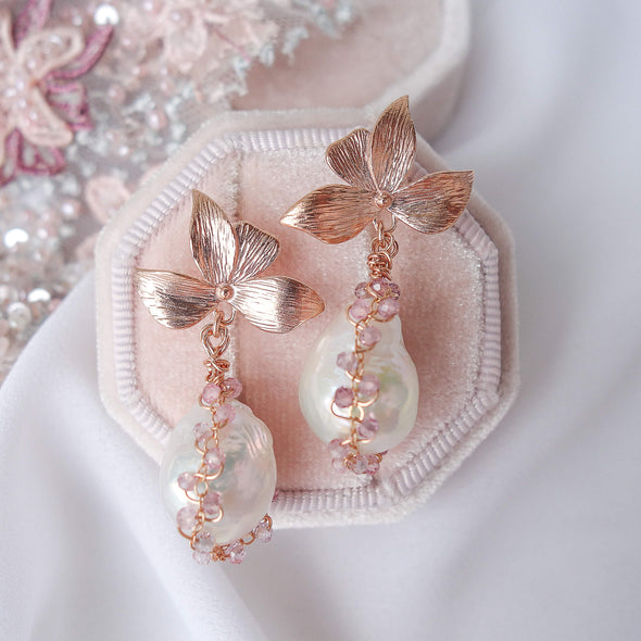 Four Petal Ear Studs with Baroque Pearls in Spinel Cocoon 1