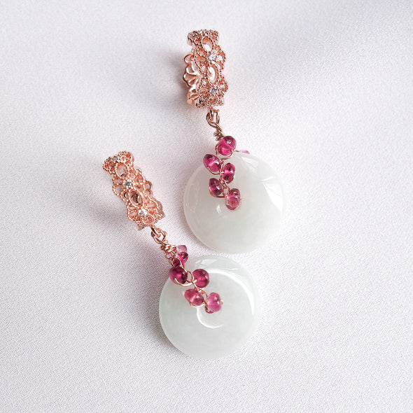Intricate Ear Hoops and Jade with Smooth Pink Tourmaline Vine