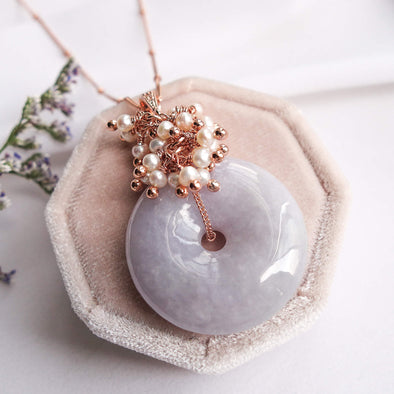 Lavender Jade Necklace with Pearl Cluster
