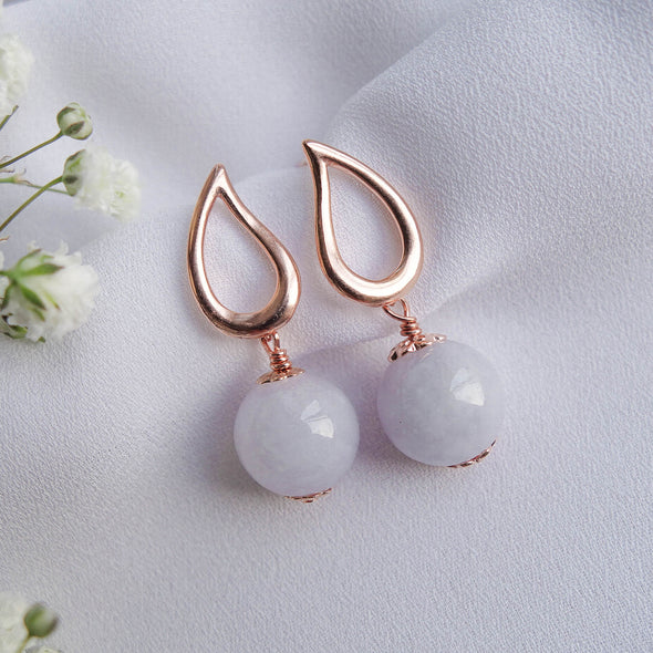 Teardrop Ear Studs with Lavender Jade