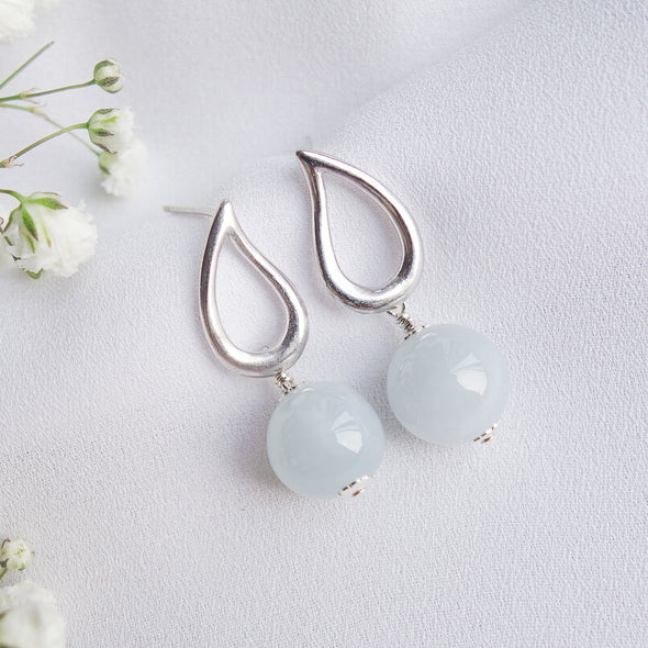 Teardrop Ear Studs with Blue Jade