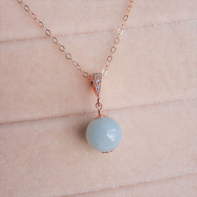 Blue Jade Pendant Necklace