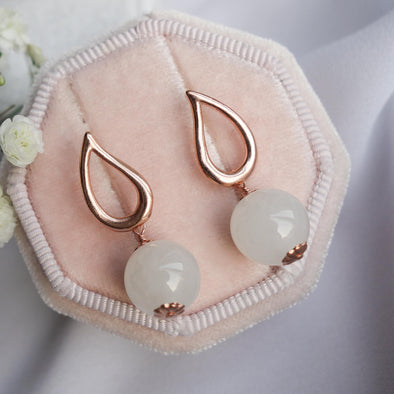 Teardrop Ear Studs with Snow White Jade