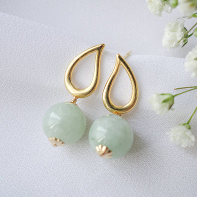Teardrop Ear Studs with Apple Green Jade