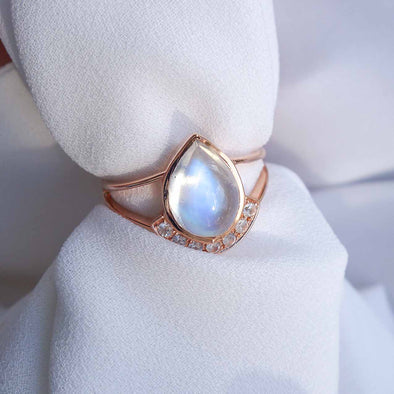 I Got You Ring with Moonstone and Sapphires Ring - 14K Rose Gold RMCR3R39