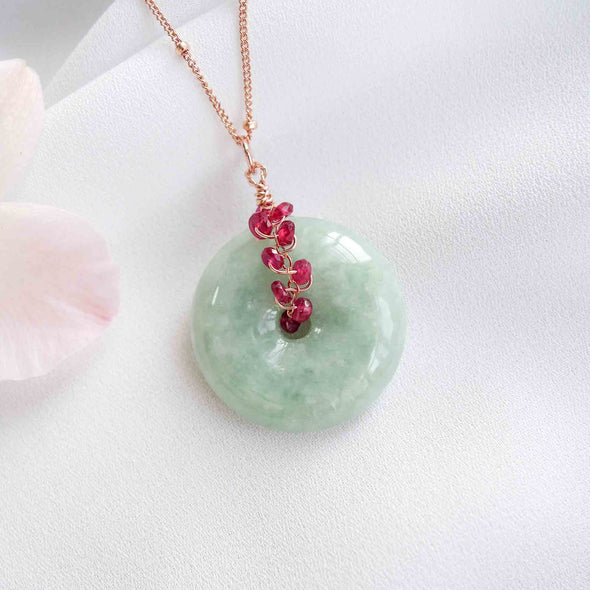 Jade with Ruby Vine Necklace