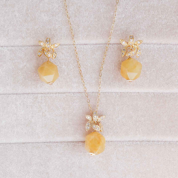 Golden Jade with Sparkling Orchid Earrings and Necklace Set