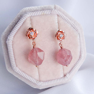 Faceted Strawberry Quartz with Small Rose Ear Studs