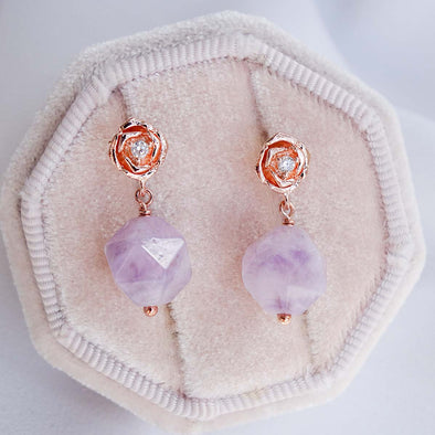 Faceted Amethyst with Small Rose Ear Studs