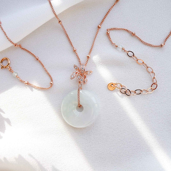 Orchid Pendant with Jade Donut Necklace - Ball Chain