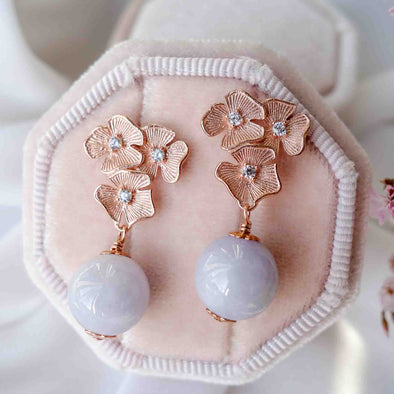 Triple Flower Ear Studs with Lavender Jade
