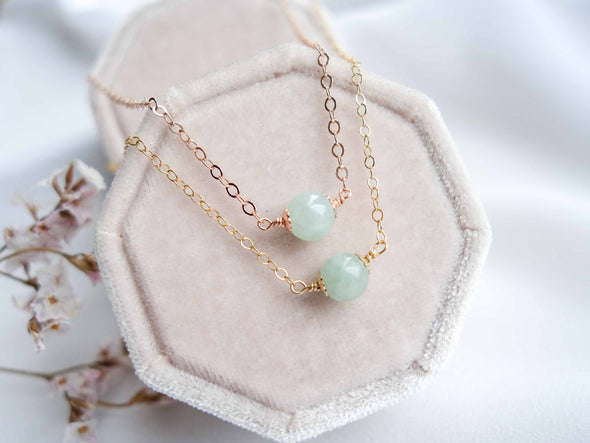 Floating Jade Necklace - Delicate Chain