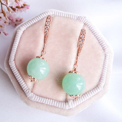 Apple Green Jade Hook Earrings