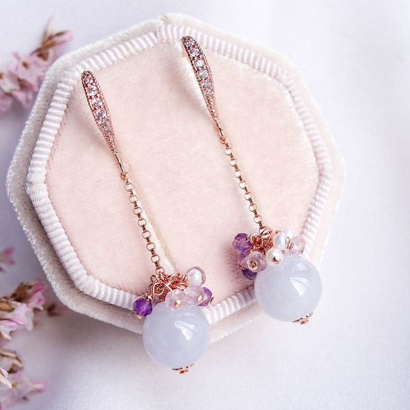 Dangling Lavender Jade Earrings with Gem Cluster