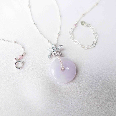 Orchid Pendant with Lavender Jade Donut Necklace - Ball Chain