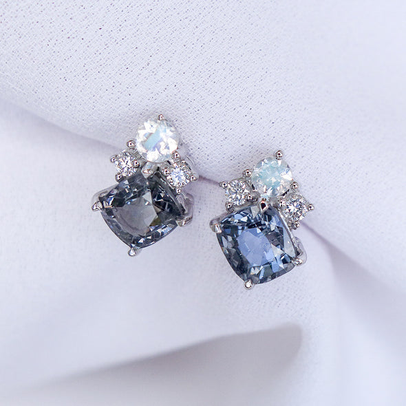 Dreamy Spinel Earrings with Diamond and Moonstone in 18K White Gold