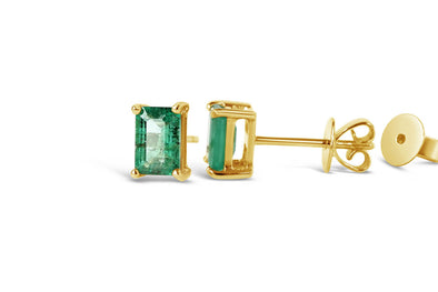 Emerald Ear Studs in 18K Yellow Gold