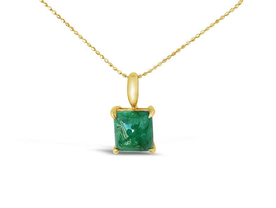Square Emerald Pendant in 18K Yellow Gold