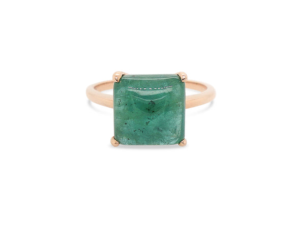 Emerald Cabochon Ring in Rose Gold ECR1R09