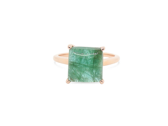 Emerald Cabochon Ring in Rose Gold