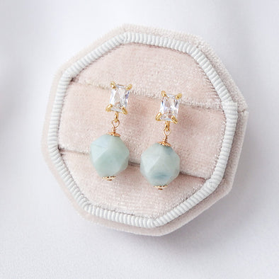 Faceted Blue Jade with Baguette Ear Studs