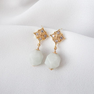 Faceted Off White Jade with Diamond-shaped Ear Studs