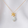 Faceted Off White Jade with Orchid Pendant Necklace